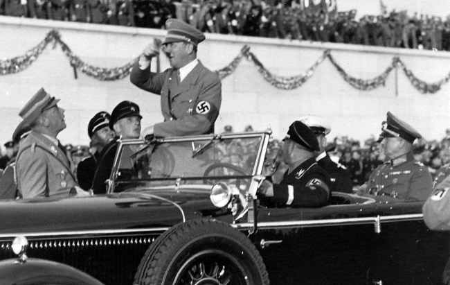 Adolf Hitler after the parade at the Tag der Wehrmacht in Nuremberg