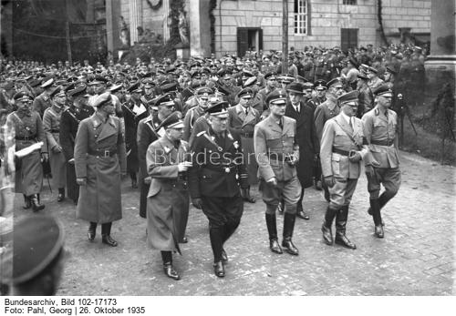 Adolf Hitler at the funeral of the Reich Governor in Braunschweig and Anhalt, Gauleiter Wilhelm Loeper in Dessau