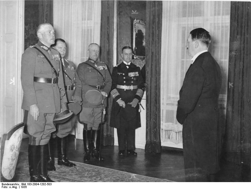 General Blomberg, General Göring, General Fritsch, and Admiral Raeder offering Hitler New Year's greetings