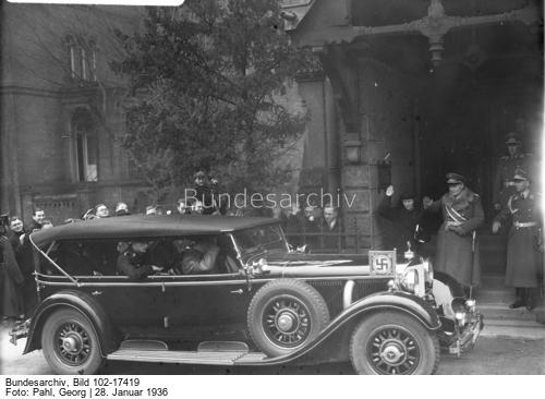 Adolf Hitler in his Mercedes in front of Berlin's English St. George church after the funeral service for King George V of England
