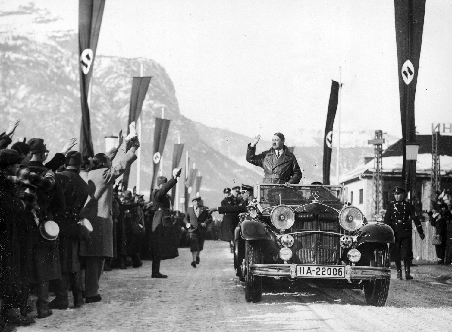 Adolf Hitler arriving at the Garmisch winter Olympic games