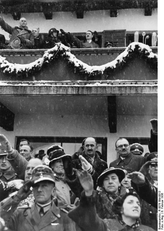 Chancellor Hitler saluting the athletes from balcony of the Olympic House during opening ceremony of the IV Olympic Winter Games, Garmisch-Partenkirchen