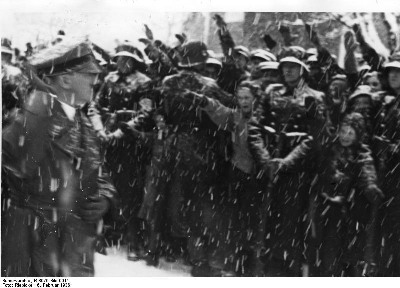 German civilians greeting Chancellor Hitler at the opening ceremony of the IV Winter Olympic Games, Garmisch-Partenkirchen