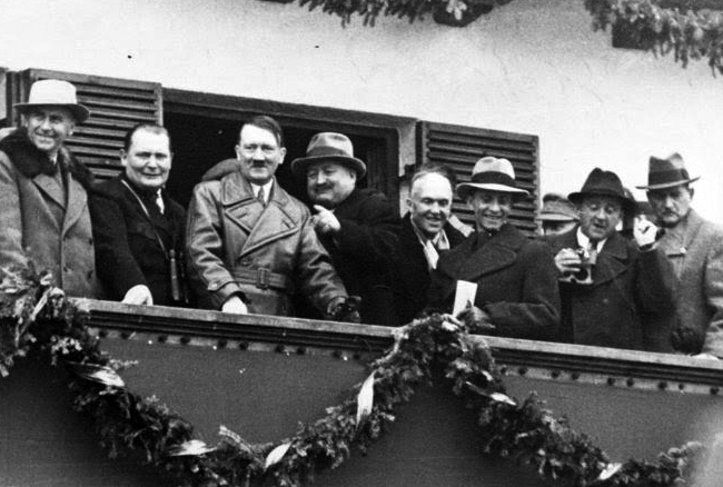 Adolf Hitler at the balcony of the Olympic House