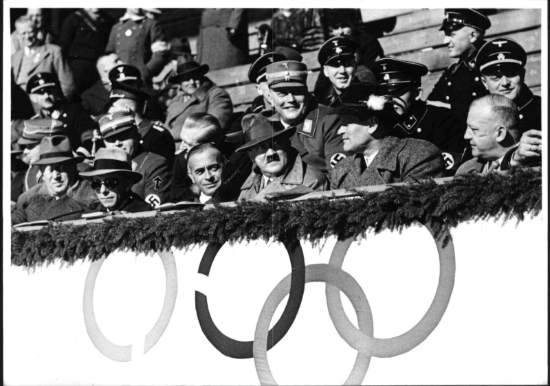 Adolf Hitler watching the hockey competition at the Winter Olympic games in Garmisch-Partenkirchen
