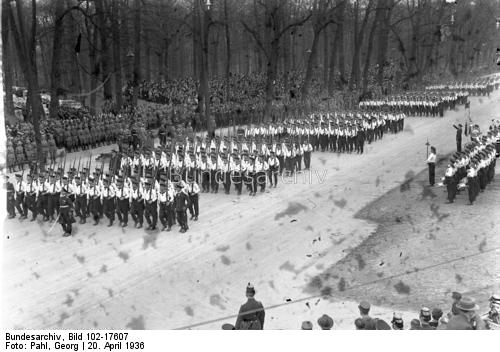 Adolf Hitler saluting a parade of naval troops in front of the Technical University in Berlin on the occasion of his birthday