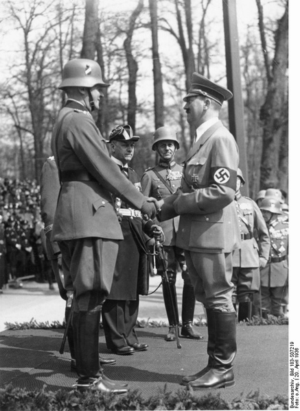 Werner von Blomberg congratulates Adolf Hitler on his 47th birthday