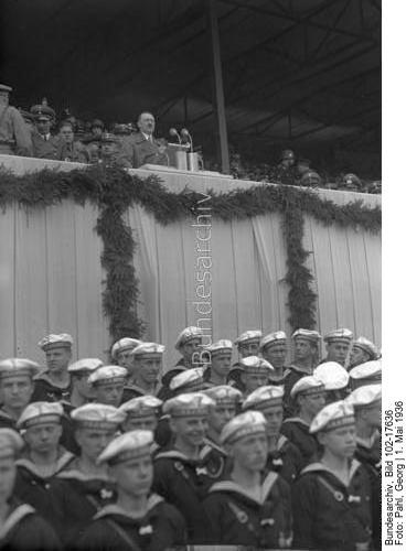 Adolf Hitler gives a speech in Berlin's Poststadion for the May Day celebration
