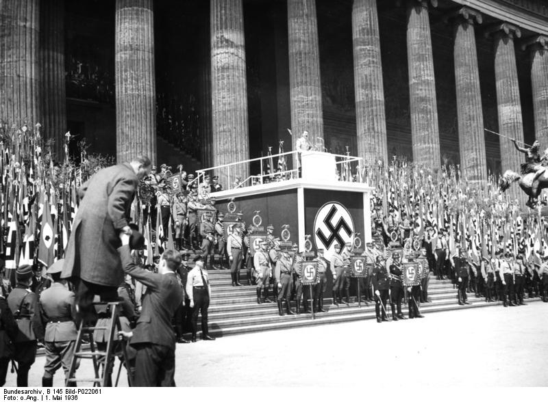 Adolf Hitler gives a speech for May day outside the museum at Lustgarten