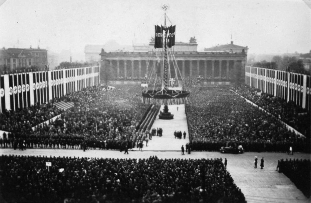 View of Berlin's Lustgarden and the Maypole during Adolf Hitler's speech for the May Day celebration