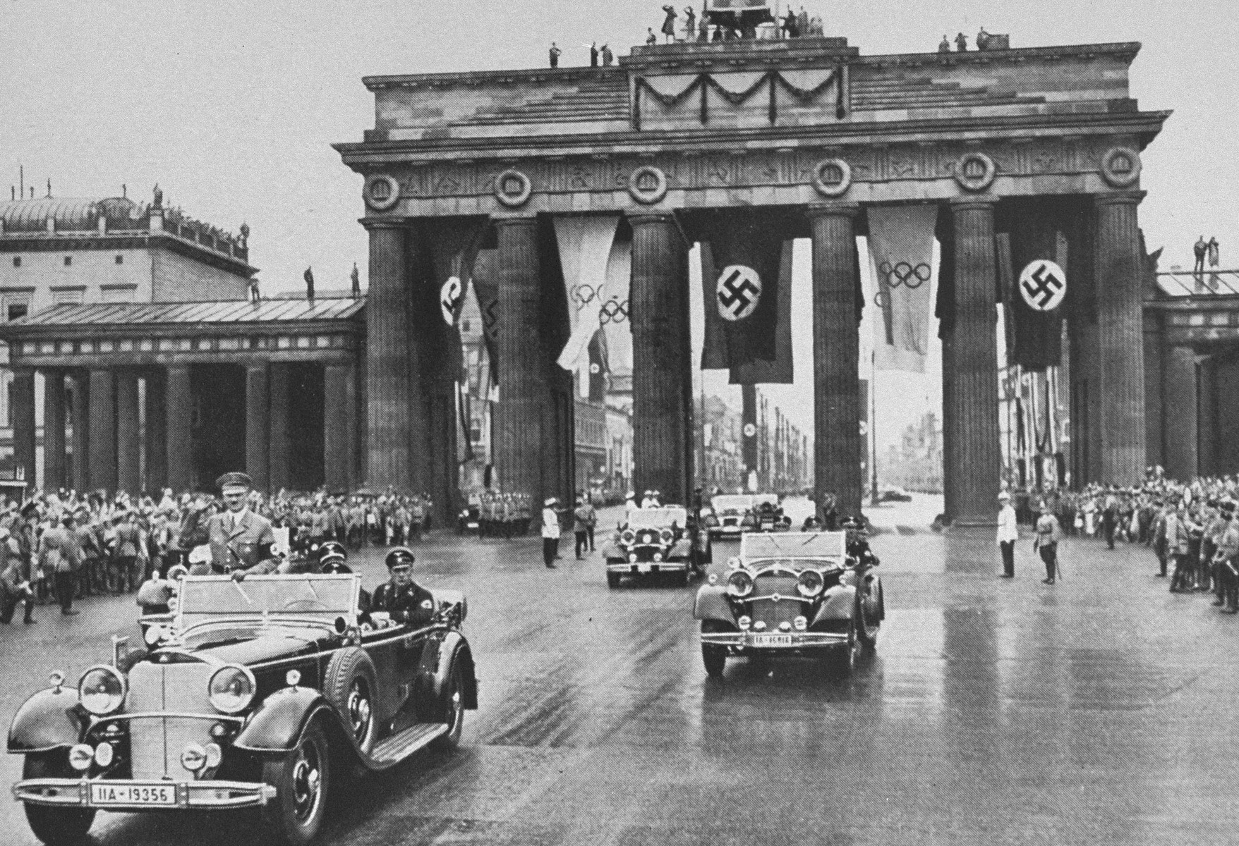Adolf Hitler crosses Berlin in his car on his way to the Olympic stadium for the opening of the 1936 Olympic games