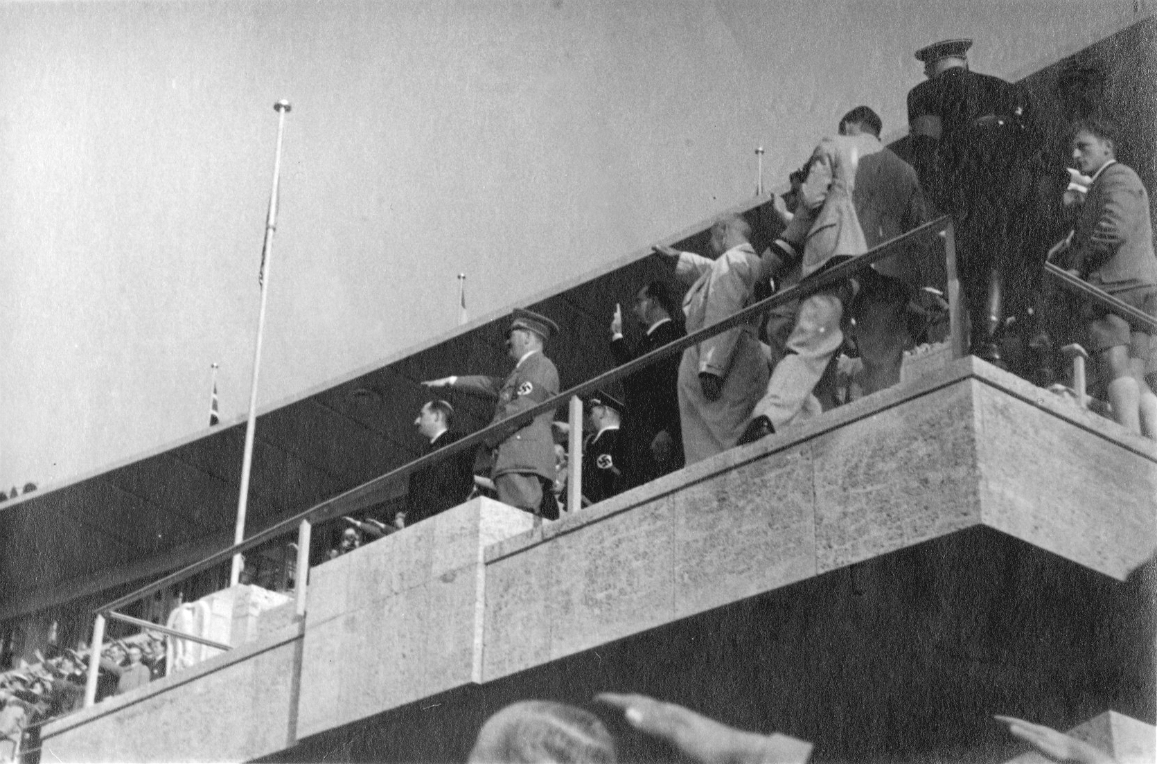 Adolf Hitler on the Olympics VIP tribune, with Boris 3 of Bulgaria