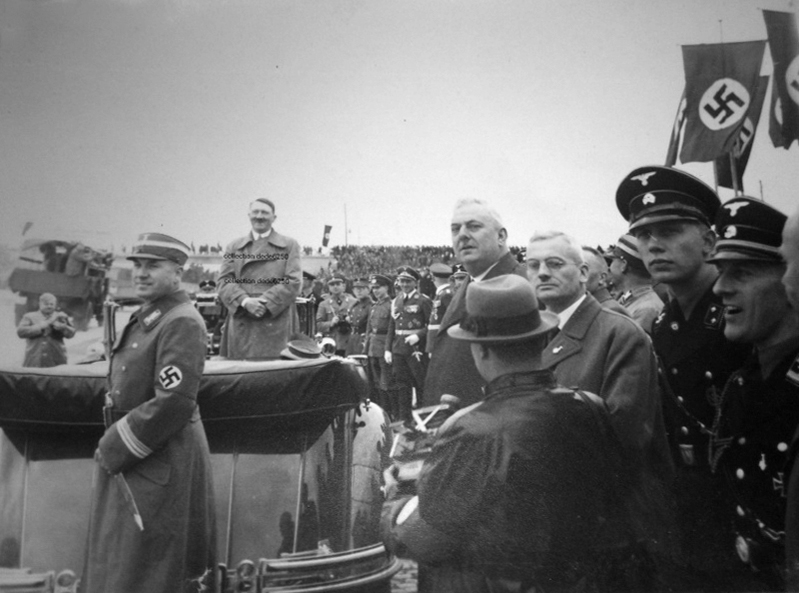 Adolf Hitler in his open car at the 1000th kilometers of the Reichsautobahn near Breslau