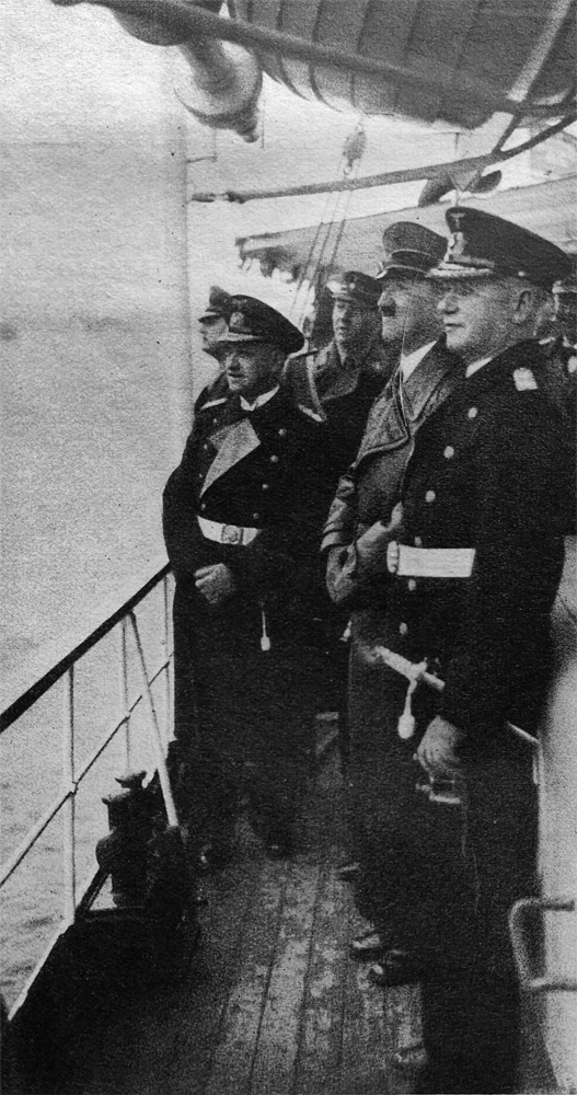 Adolf Hitler with admirals Raeder, Albrecht and Foerster on board the Nixe yacht on their way to the Gneisenau battleship