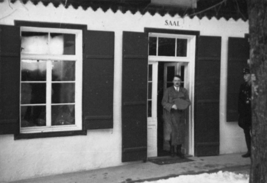 Adolf Hitler leaves hotel Platterhof after the meeting with SA and HJ leaders