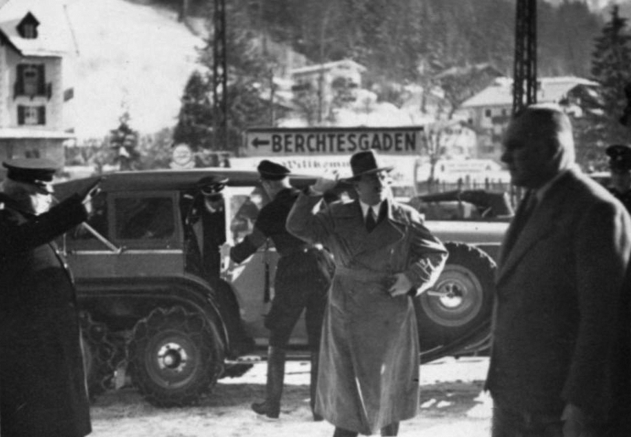 Adolf Hitler arrives at Berchtesgaden station for a short trip to Berlin