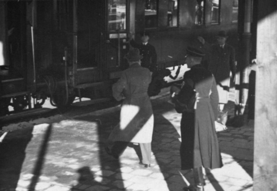 Adolf Hitler at Berchtesgaden station for a short trip to Berlin