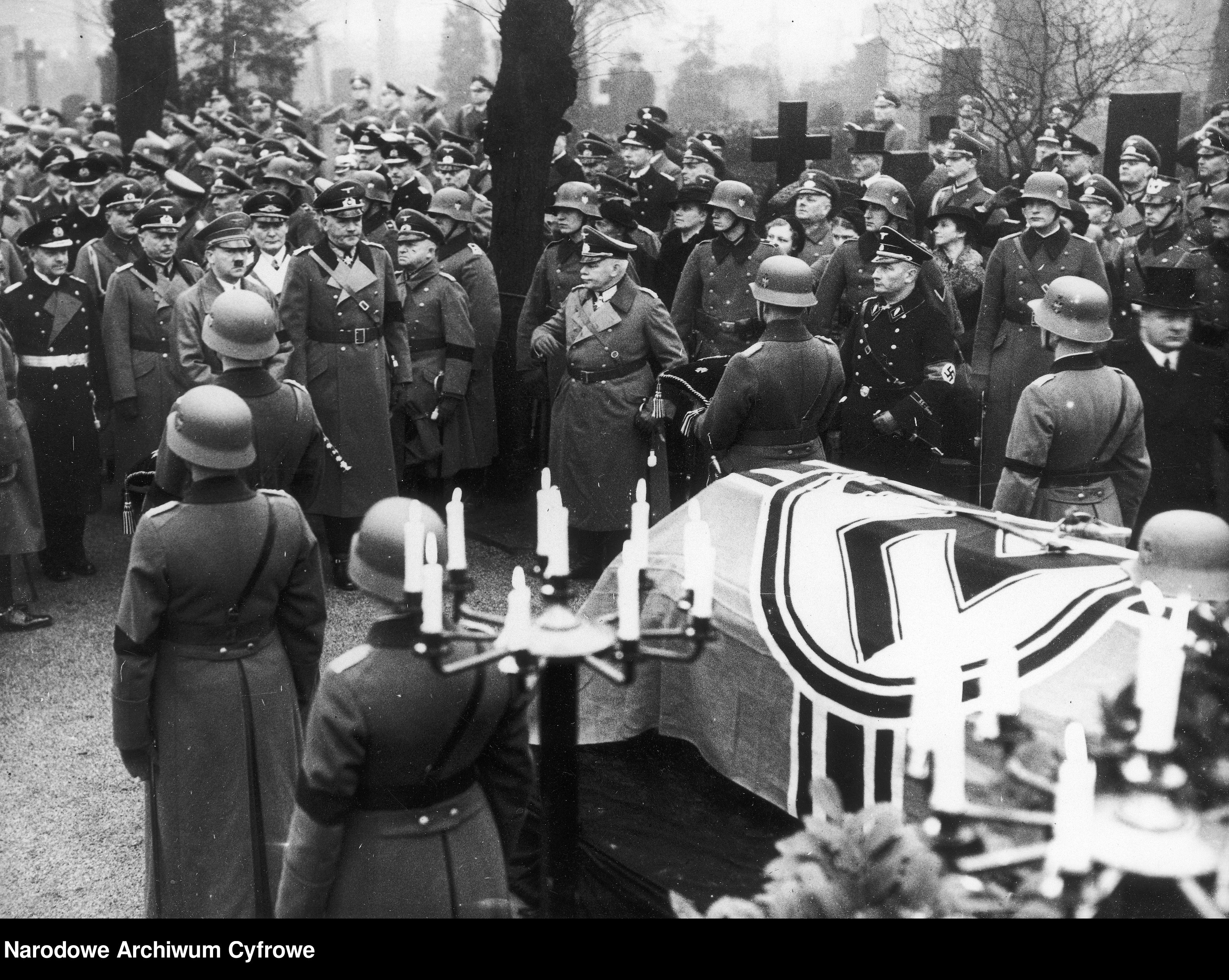 Adolf Hitler and Field Marshal Werner von Blomberg at the funeral of Hans von Seeckt at the Invalidenfriedhof in Berlin