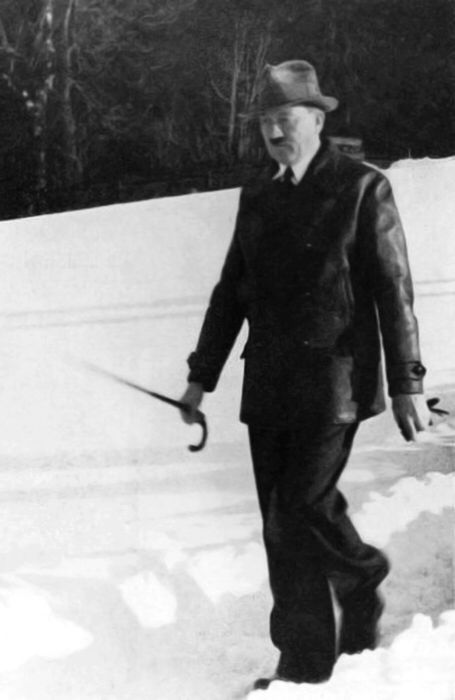 Adolf Hitler during a walk on the Obersalzberg