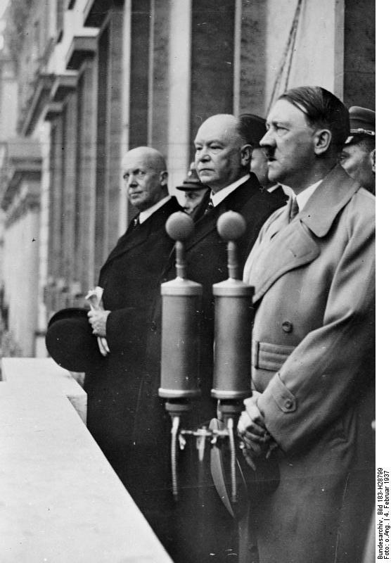 Adolf Hitler speaking to 15000 rail workers from the balcony of the Reich Chancellery