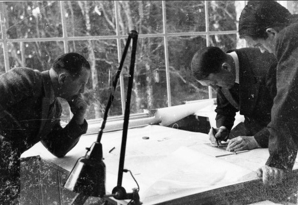 Adolf Hitler with architects Hermann Giesler and Albert Speer working on architectural plans in Bechstein house on the Obersalzberg