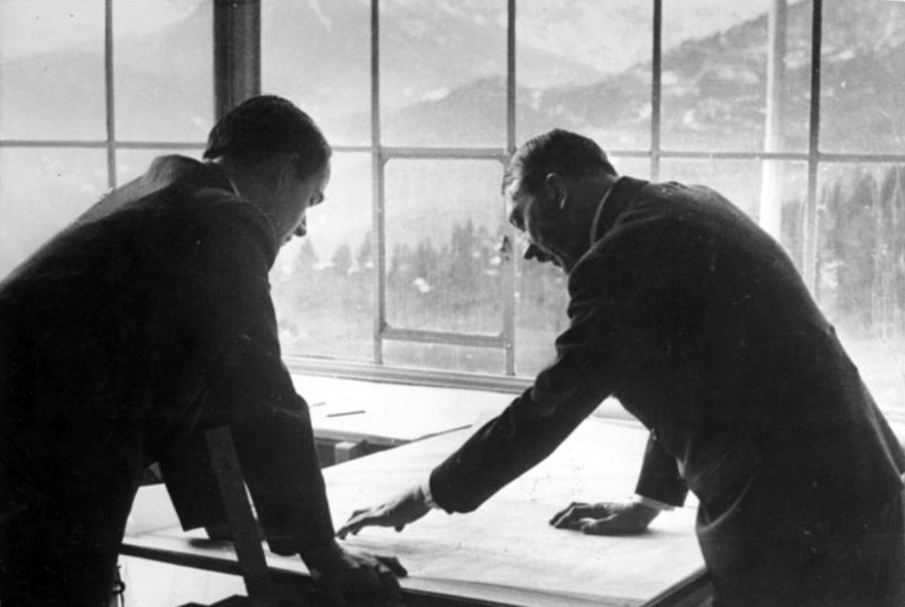 Adolf Hitler and Albert Speer working on architectural plans in Bechstein house on the Obersalzberg