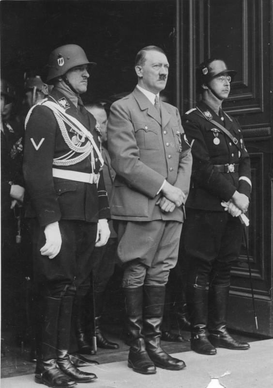 Sepp Dietrich, Adolf Hitler and Heinrich Himmler on the occasion of Hitler's birthday