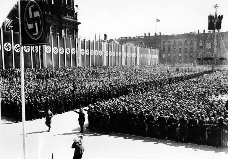 Hitler arrives for the May Day ceremony in Berlin Lustgarten