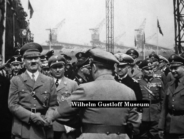 Adolf Hitler before his speech for the launch of the Wilhelm Gustloff cruise ship