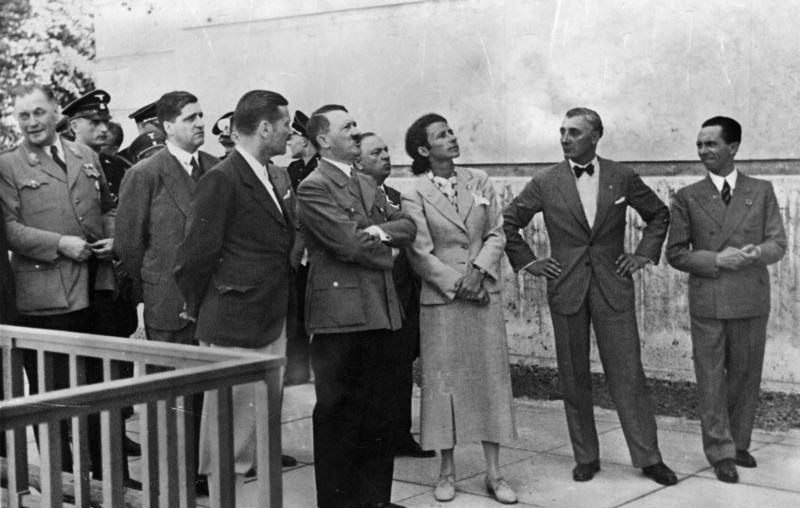 Adolf Hitler, Gerdy Troost, Adolf Ziegler and Joseph Goebbels at the opening of the House of German Art