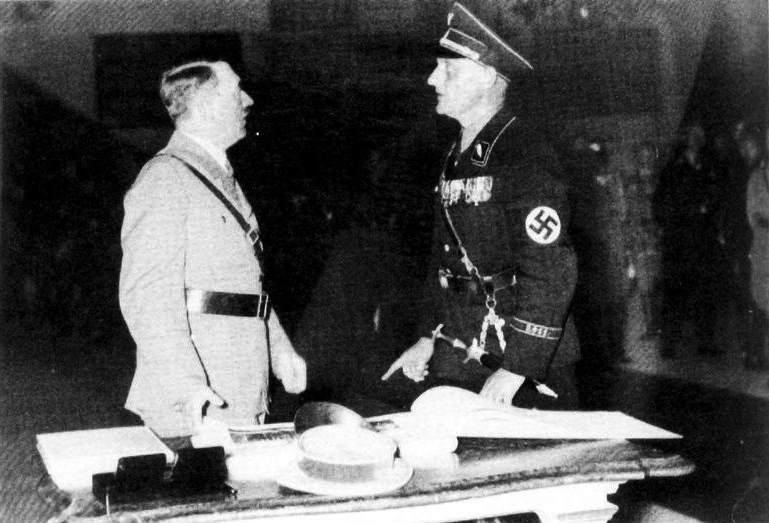 Adolf Hitler with mayor Otto Schottenheim in Regensburg's city hall