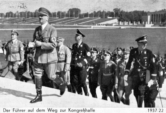 Adolf Hitler arrives in Nuremberg's Congress Hall