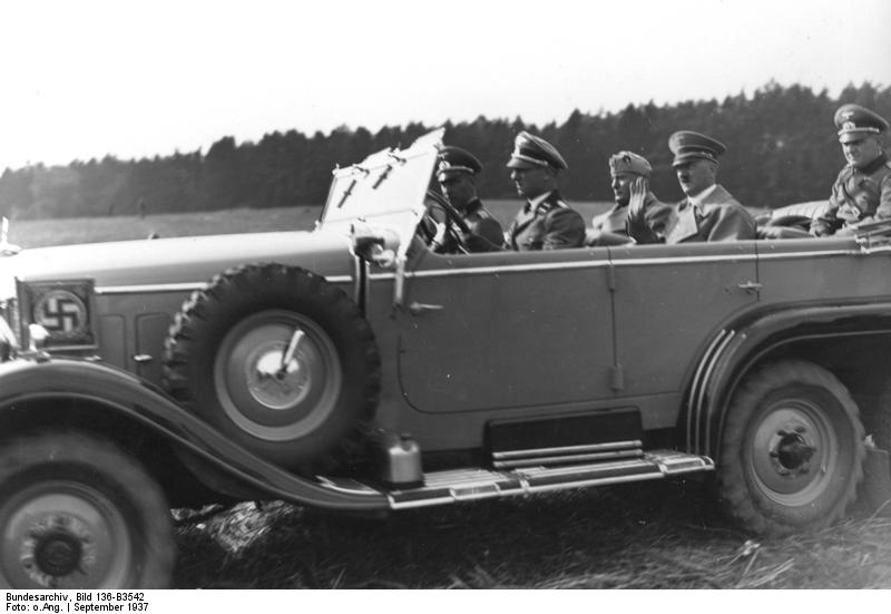 Mussolini and Hitler in a Daimler-Benz Type G4 W31 limousine during German Army maneuvers in Mecklenburg and Pomerania