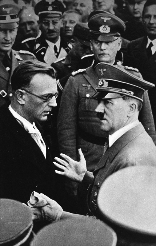 Adolf Hitler in conversation with Arthur Seyß-Inquart in Vienna