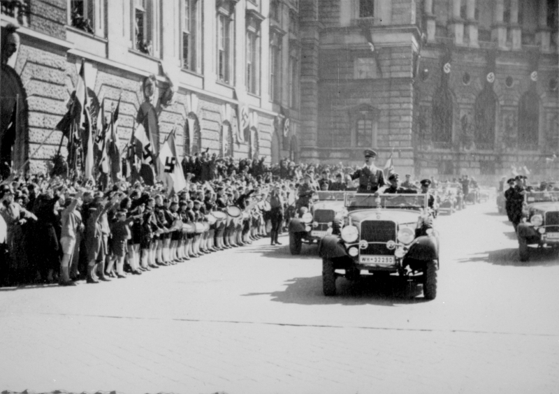 Adolf Hitler in his car in Vienna's Heldenplatz