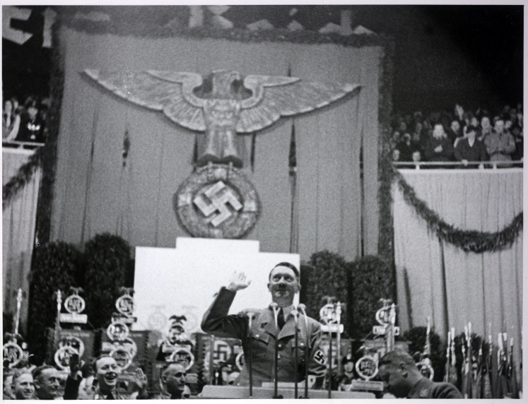 Hitler gives a speech in Berlin's Sportpalast