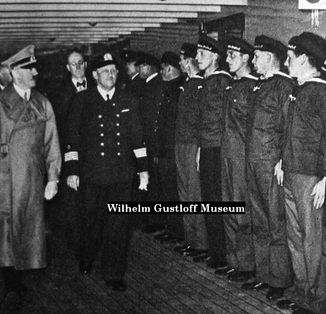 Adolf Hitler visits the Wilhelm Gustloff transport ship, captain Carl Lübbe presents him the crew on the lower promenade deck