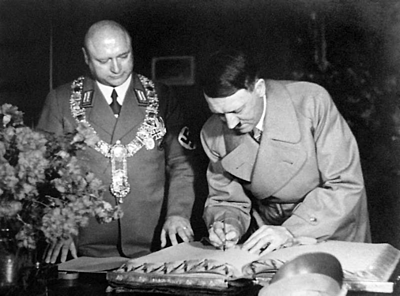 Adolf Hitler signs the golden book in Frankfurt am Main