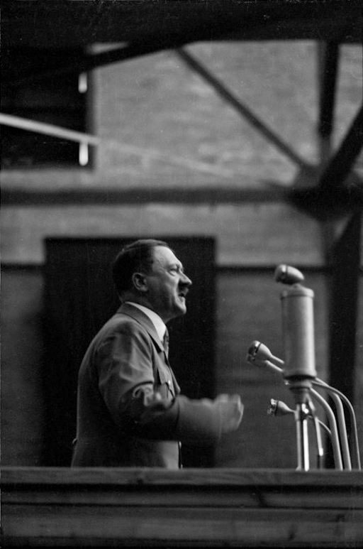 Adolf Hitler speaks in the Weitzer wagon factory in Graz
