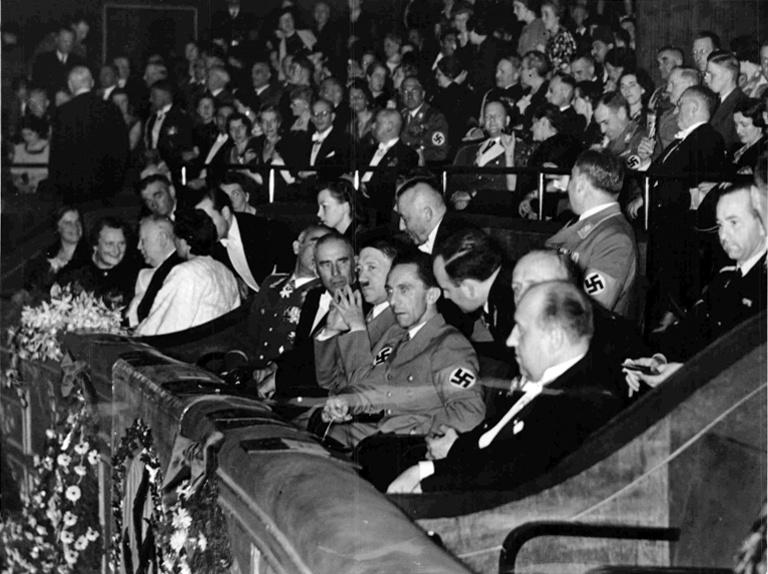 Adolf Hitler at the Ufa-Palast in Berlin for the premiere of the Olympia film