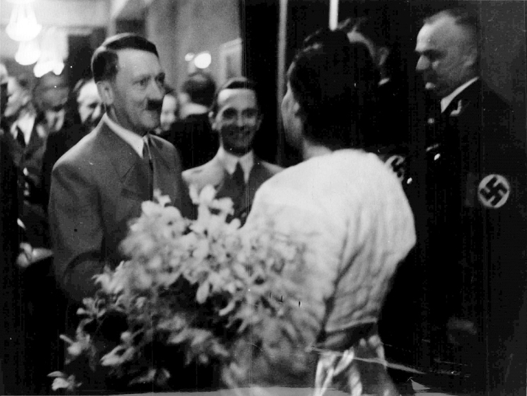 Adolf Hitler congratulates Leni Riefenstahl for the premiere of the Olympia film