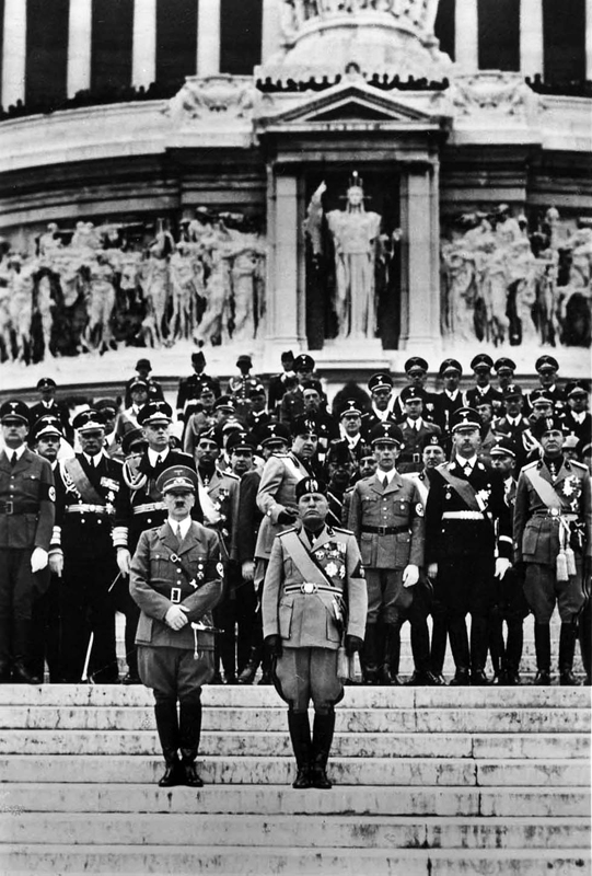 Adolf Hitler and Mussolini at the monument of the Unknown Soldier in Rome