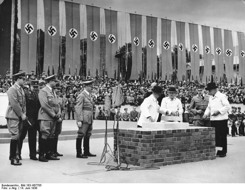 Adolf Hitler at the laying of the foundation stone for the 'House of German Tourism' in Berlin