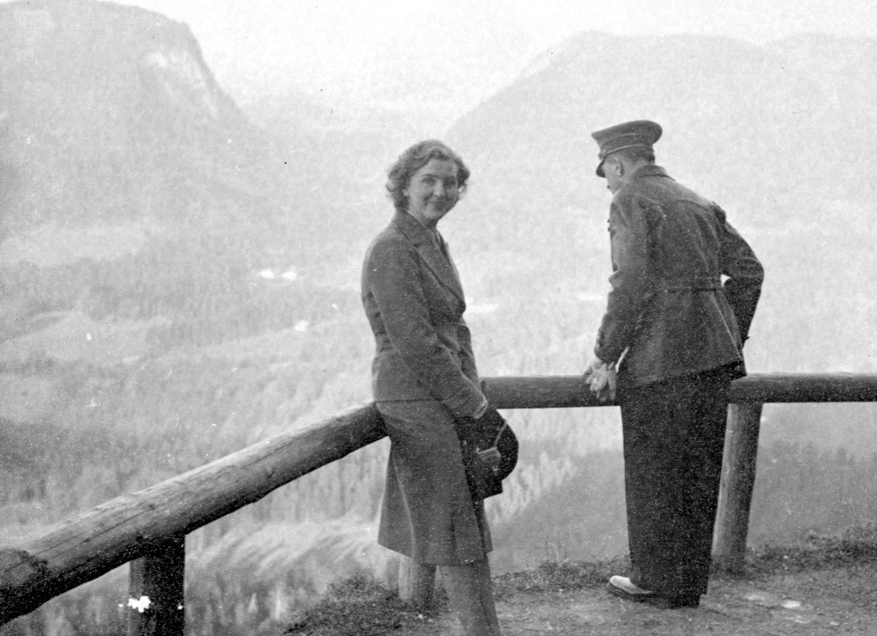 Adolf Hitler and Eva Braun in front of the Teehaus on the Obersalzberg, from Eva Braun's albums