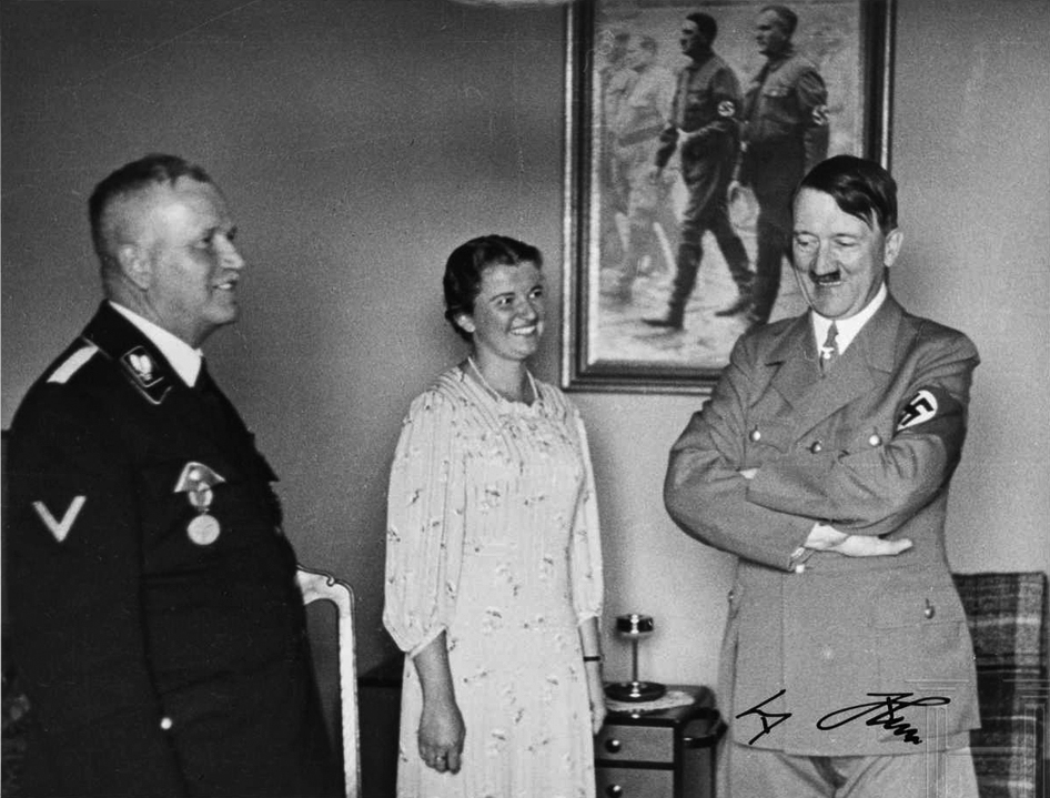 Hitler with Ulrich Graf and his wife for Graf's 60th Birthday in his Munich appartment