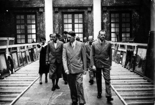 Adolf Hitler and director Karl Kolb visit the new Grossen Deutschen Kunstausstelung in Munich's Haus der Deutschen Kunst