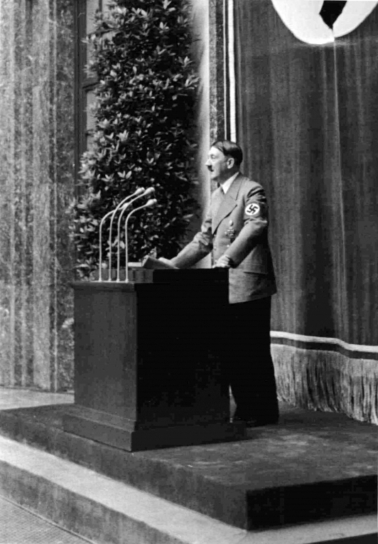 Adolf Hitler makes a speech at the opening of the great German art exhibition in Munich