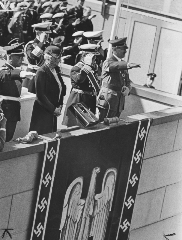Adolf Hitler with Myklos Horthy and his wife at the launch of the Prinz Eugen