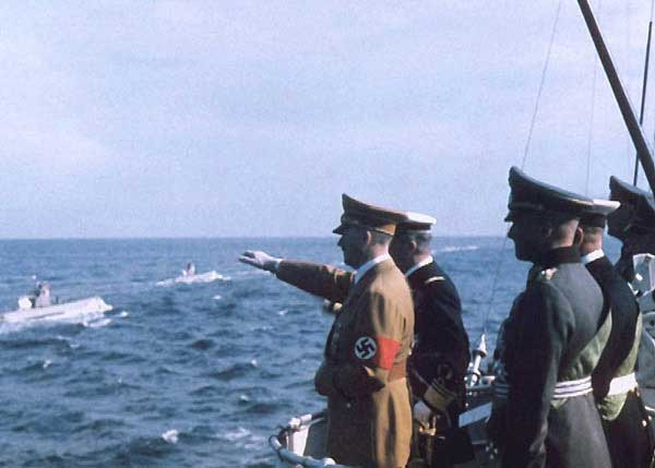 Adolf Hitler and admiral Horthy review the Kriegsmarine U-Boats