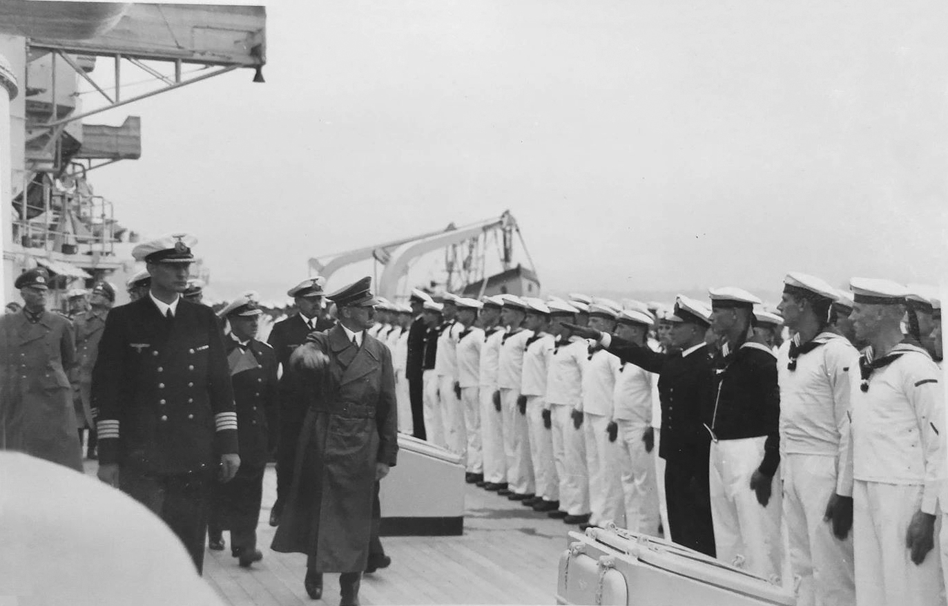 Adolf Hitler inspects the Gneisenau battleship